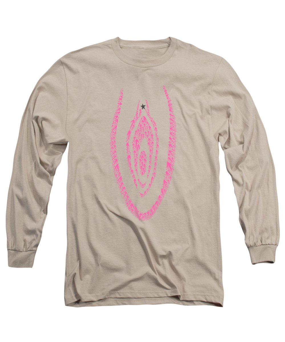Clitoris Long Sleeve T-Shirt featuring the drawing Clit Map by Ludwig Van Bacon