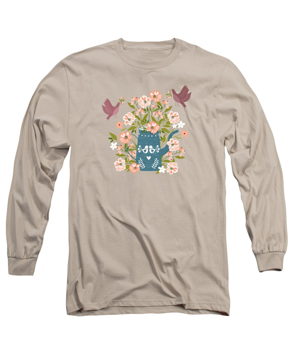 Birds Long Sleeve T-Shirt featuring the painting Happy Birds Making Things Beautiful Together by Little Bunny Sunshine