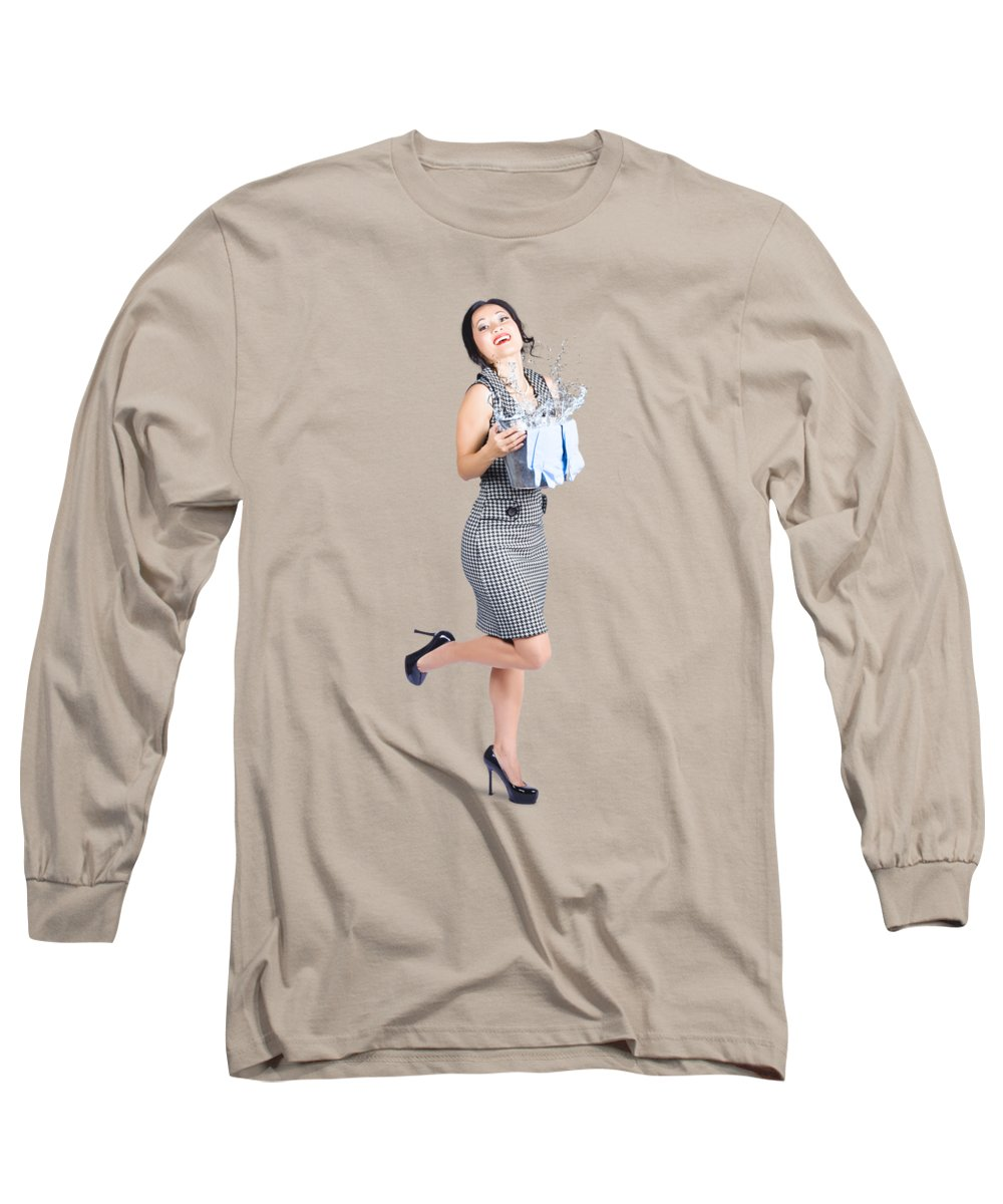 Cleaning Lady Long Sleeve T-Shirt featuring the photograph Happy Cleaning Woman Kicking Up Dirt And Grime by Jorgo Photography - Wall Art Gallery