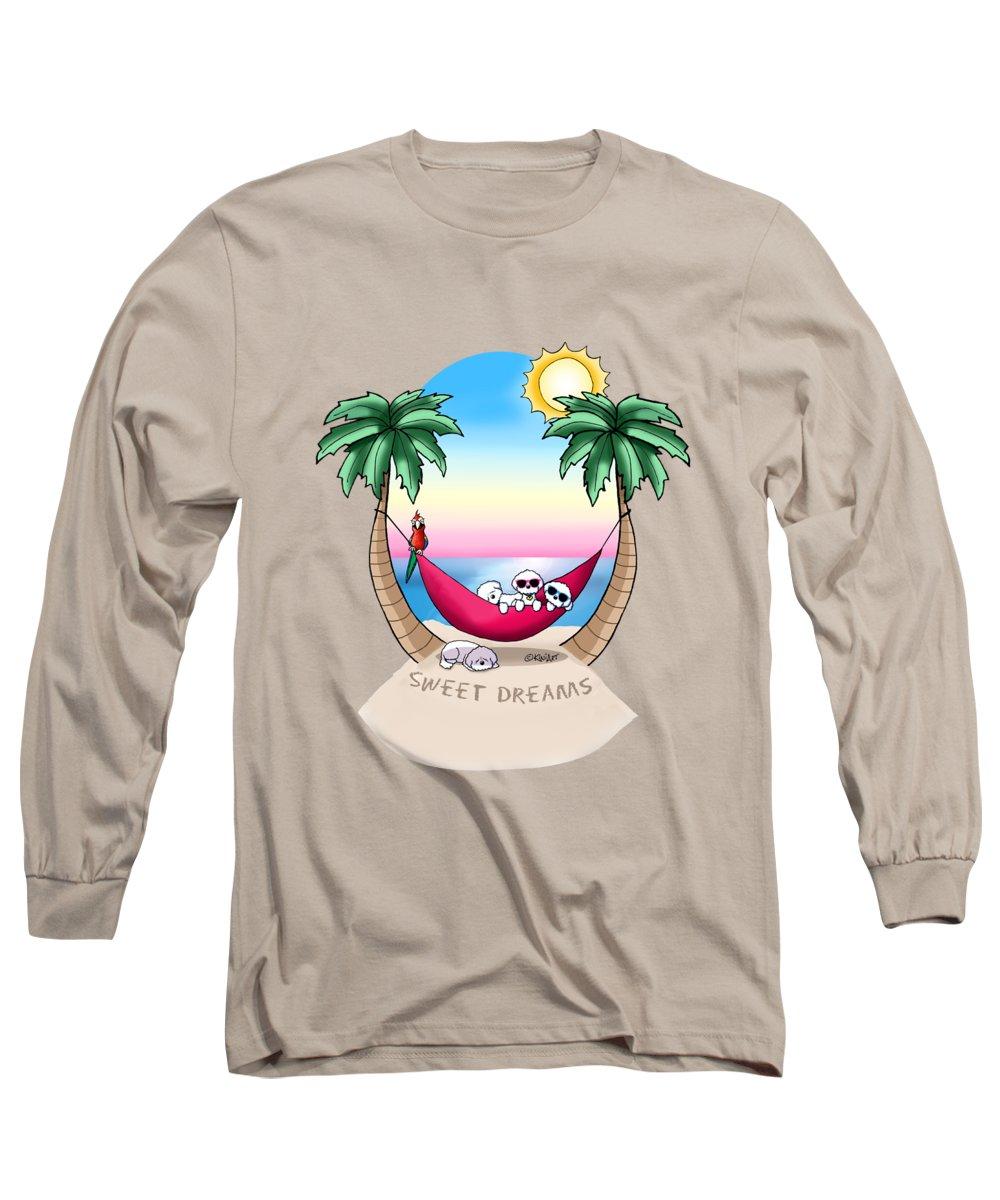 Bichon Long Sleeve T-Shirt featuring the mixed media Kiniart Tropical Bichon Frise by Kim Niles