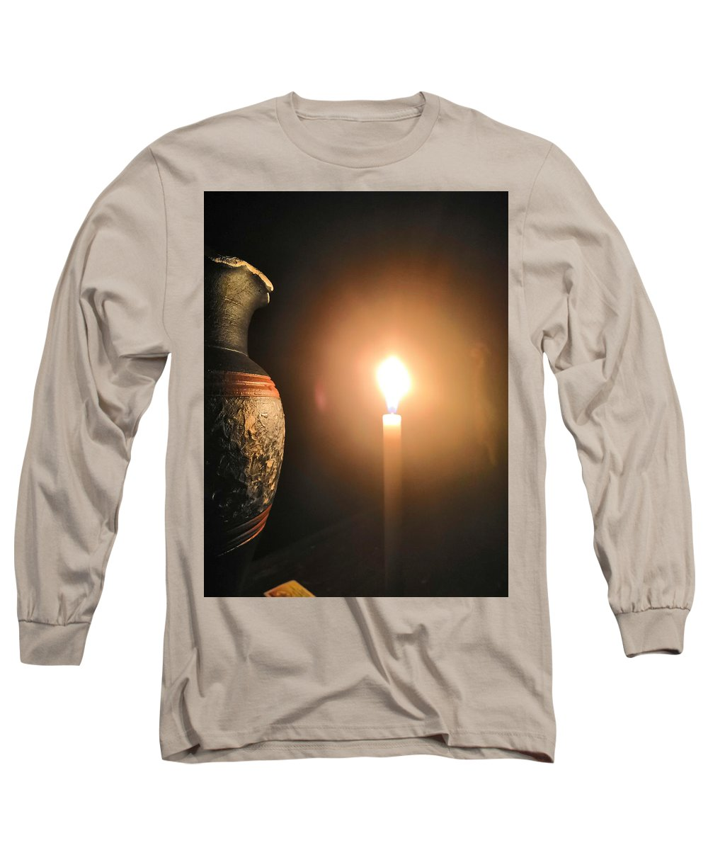 Candle Light Long Sleeve T-Shirt featuring the photograph Light In The Dark by Ian Batanda