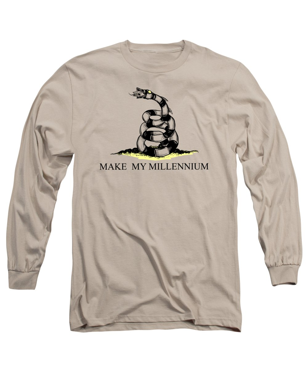 Sandworm Long Sleeve T-Shirt featuring the drawing Make My Millennium by Ludwig Van Bacon