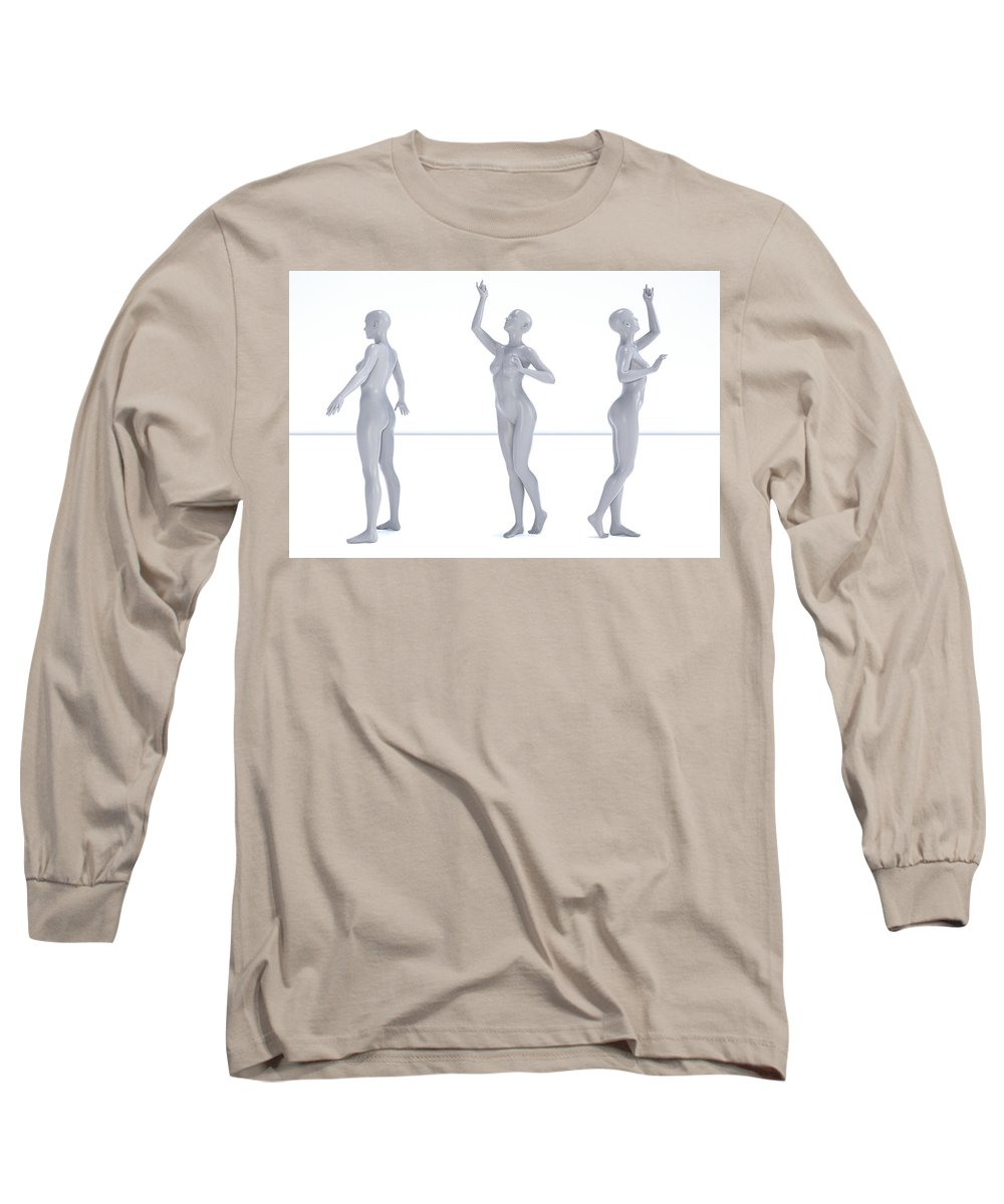 Human Long Sleeve T-Shirt featuring the digital art Models 002 by Betsy Knapp