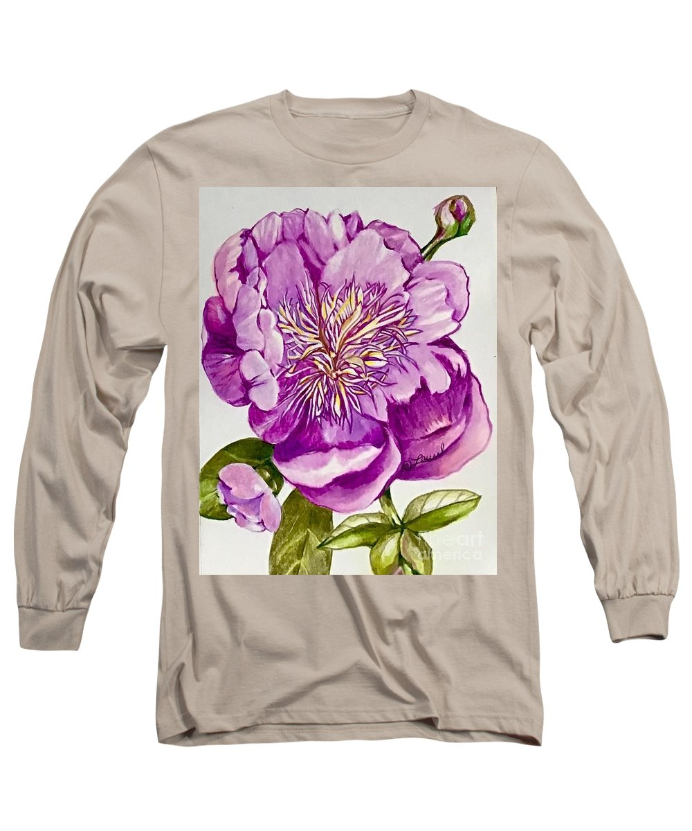 Floral Abstract Long Sleeve T-Shirt featuring the drawing Purple Pose by Laurel Adams