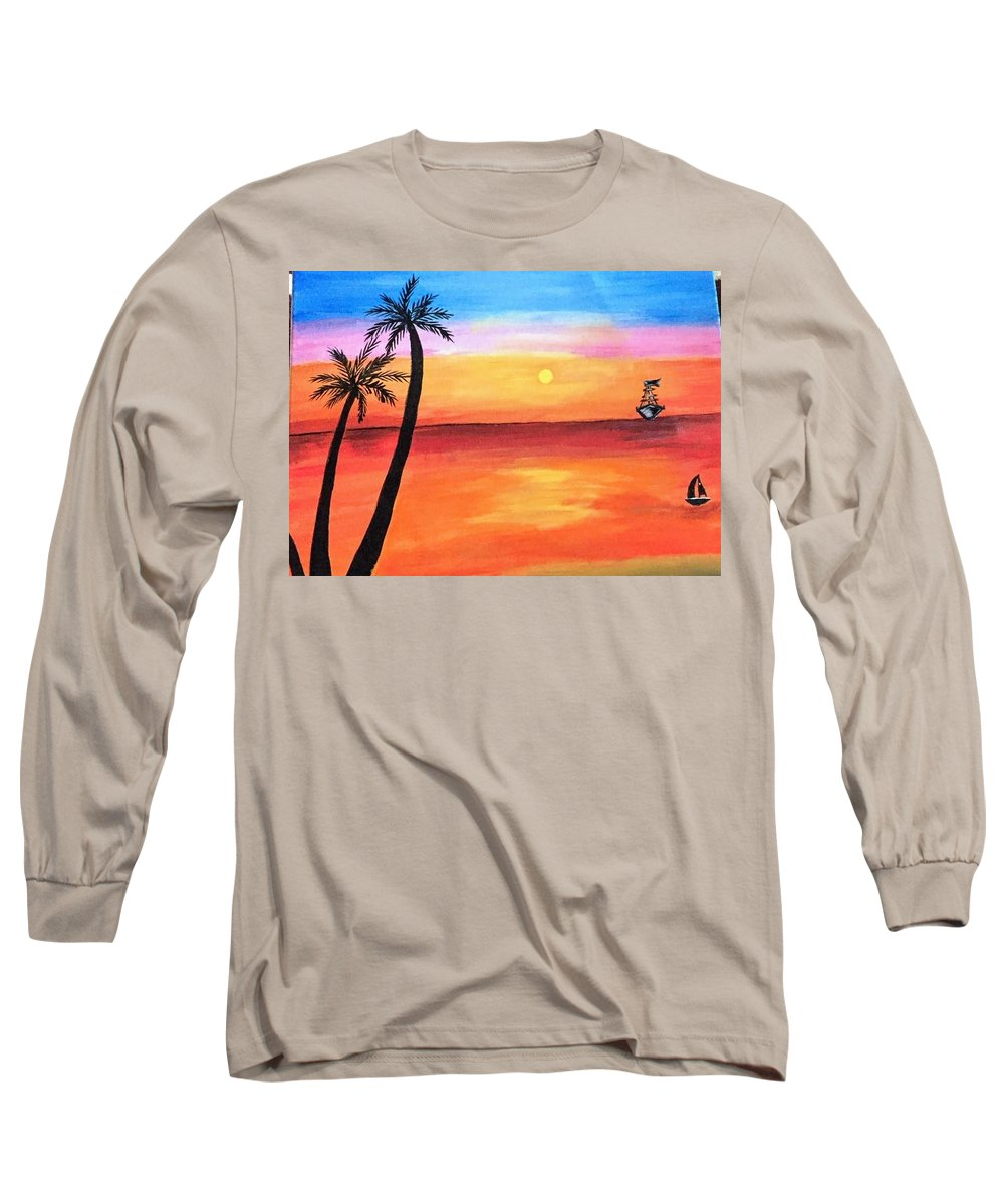 Canvas Long Sleeve T-Shirt featuring the painting Scenary by Aswini Moraikat Surendran