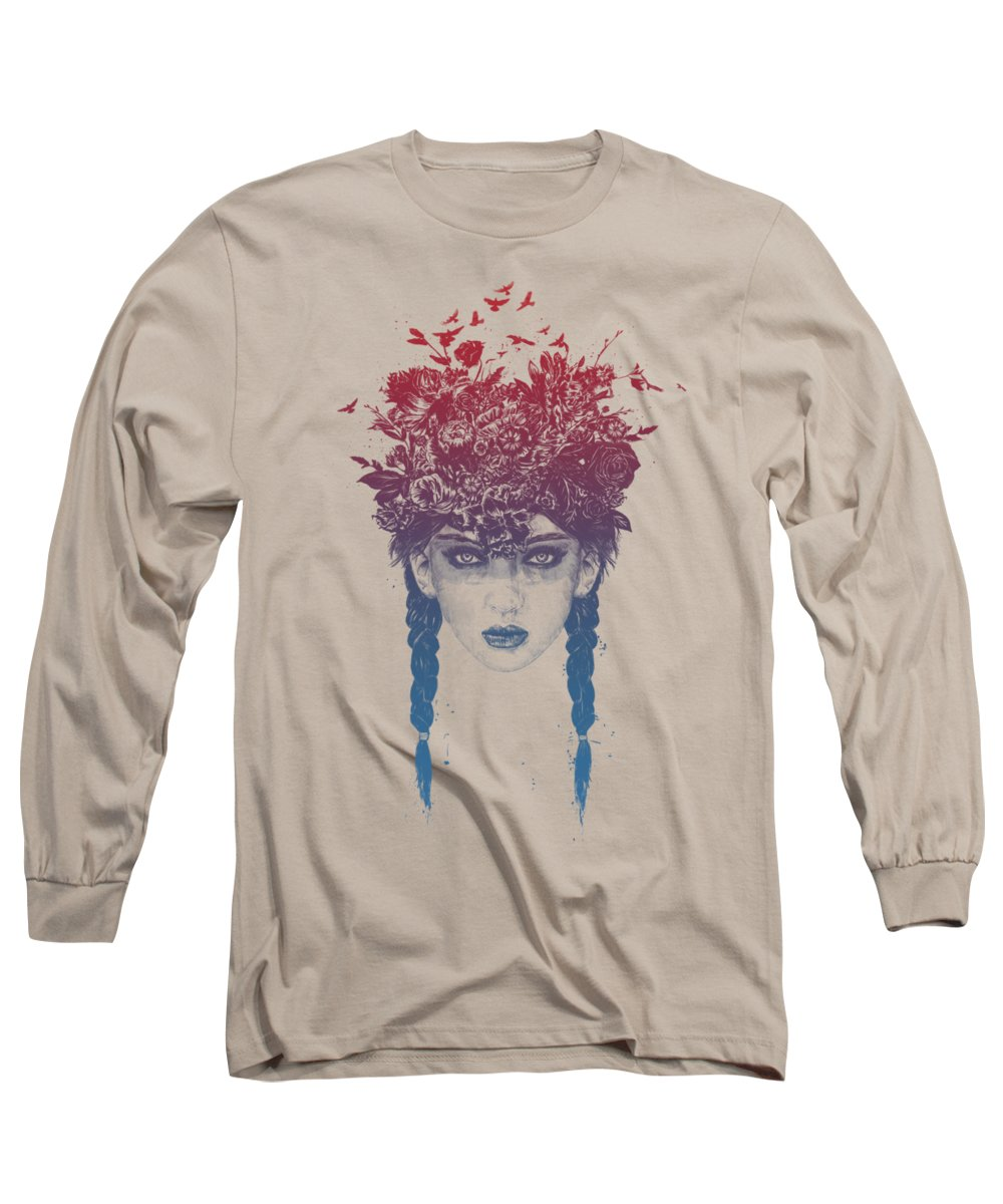 Girl Long Sleeve T-Shirt featuring the mixed media Summer Queen by Balazs Solti
