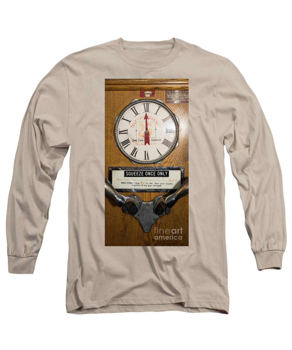 Wingsdomain Long Sleeve T-Shirt featuring the photograph Test Your Strength Vintage Penny Arcade Machine Dsc6856 by Wingsdomain Art and Photography