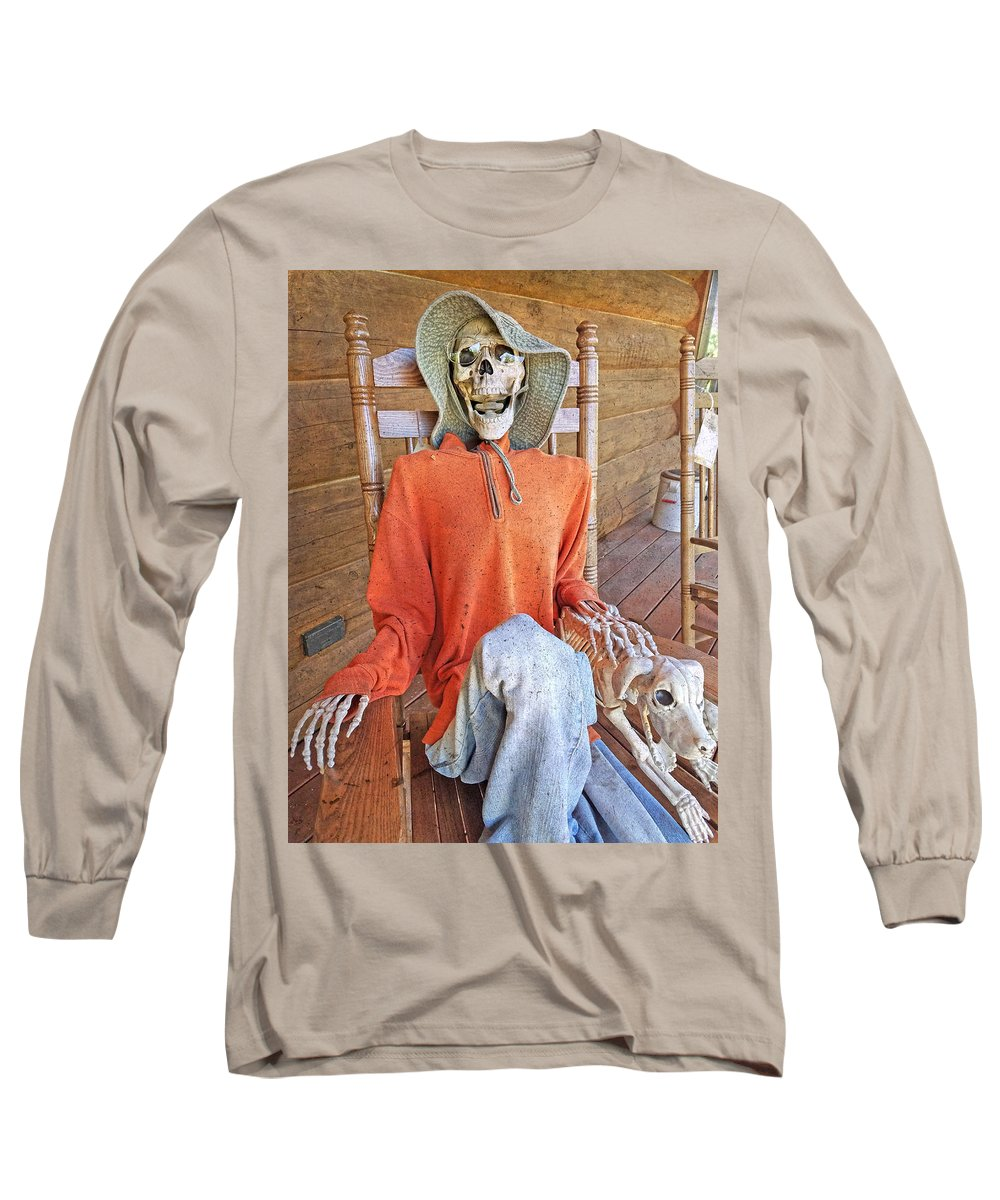 Skeleton Long Sleeve T-Shirt featuring the photograph The Greeter by Betsy Knapp