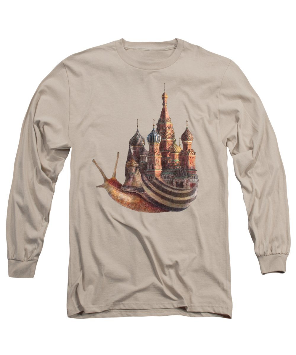Snail Long Sleeve T-Shirt featuring the drawing The Snail's Daydream by Eric Fan