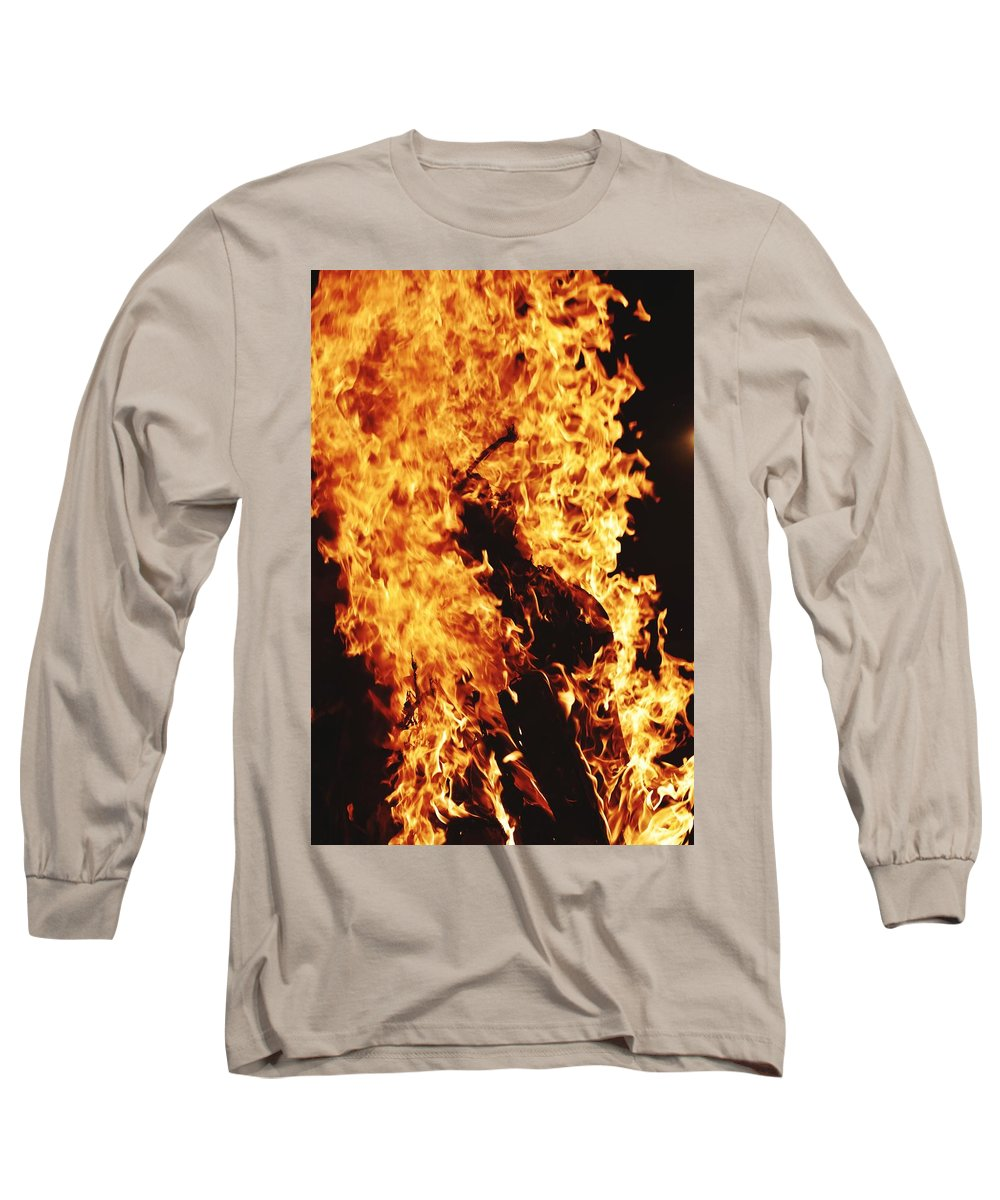Campfire Long Sleeve T-Shirt featuring the photograph Closeup of Fire at time of festival by Ravindra Kumar