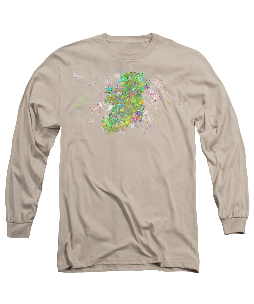 Ireland Long Sleeve T-Shirt featuring the digital art Abstract Colorful Ireland by Stefano Senise