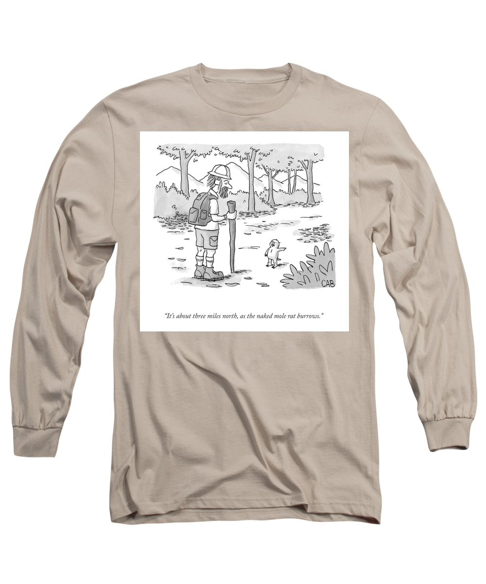 It's About Three Miles North Long Sleeve T-Shirt featuring the drawing As The Naked Mole Rat Burrows by Adam Cooper