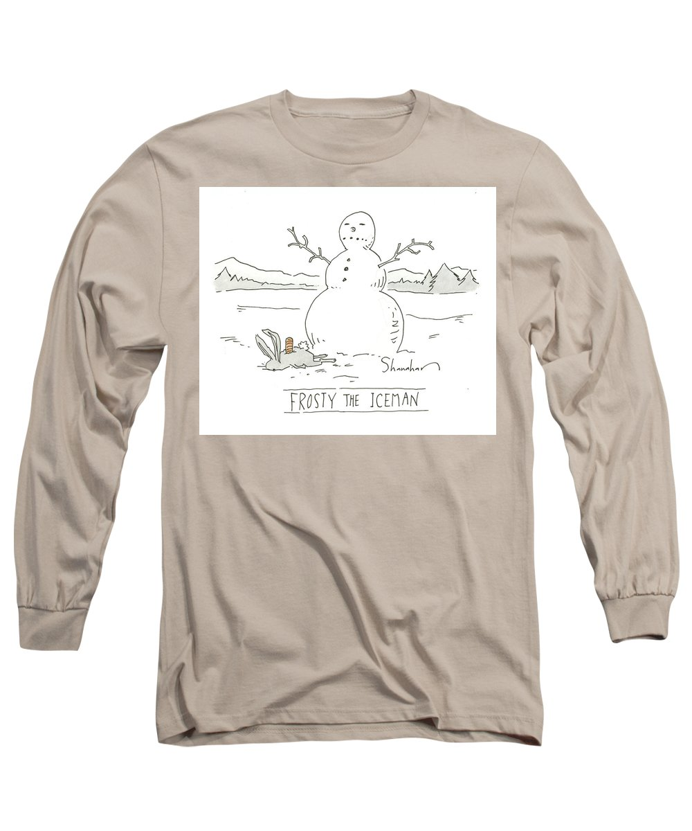 Captionless Long Sleeve T-Shirt featuring the drawing Frosty The Iceman by Danny Shanahan