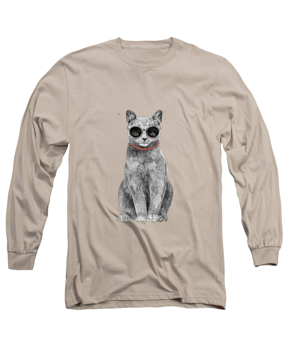 Cat Long Sleeve T-Shirt featuring the drawing Summer Cat by Balazs Solti