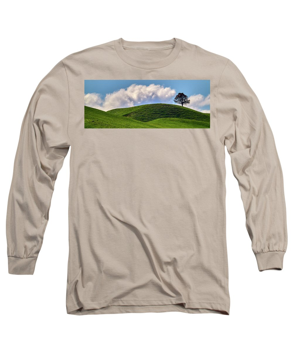 Airplane Long Sleeve T-Shirt featuring the photograph Tree On A Hill by Paul Freidlund