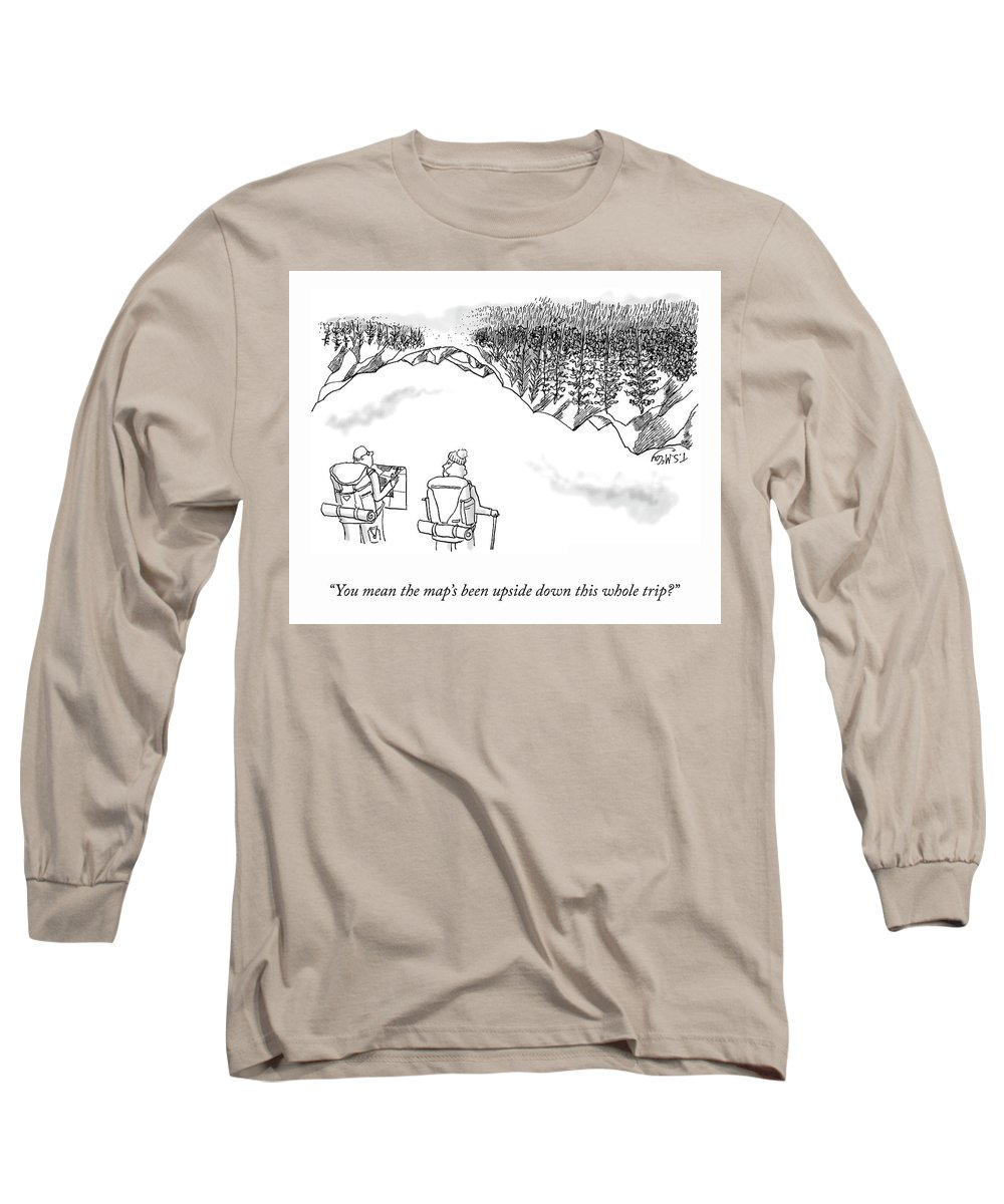"""""""you Mean The Map's Been Upside-down This Whole Trip?"""" Long Sleeve T-Shirt featuring the drawing Upside-Down Map by TS McCoy"""