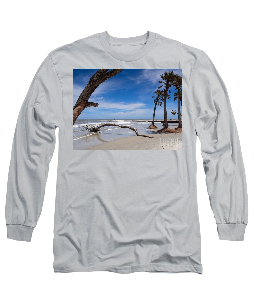 Beach Long Sleeve T-Shirt featuring the photograph The Beach At Hunting Island State Park by Louise Heusinkveld