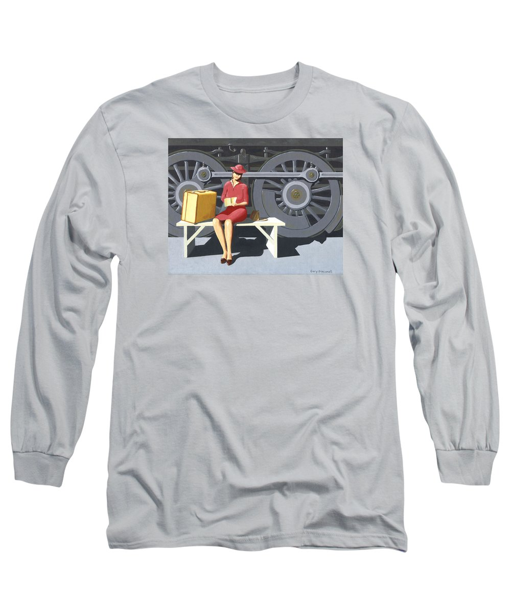 Woman Long Sleeve T-Shirt featuring the painting Woman With Locomotive by Gary Giacomelli
