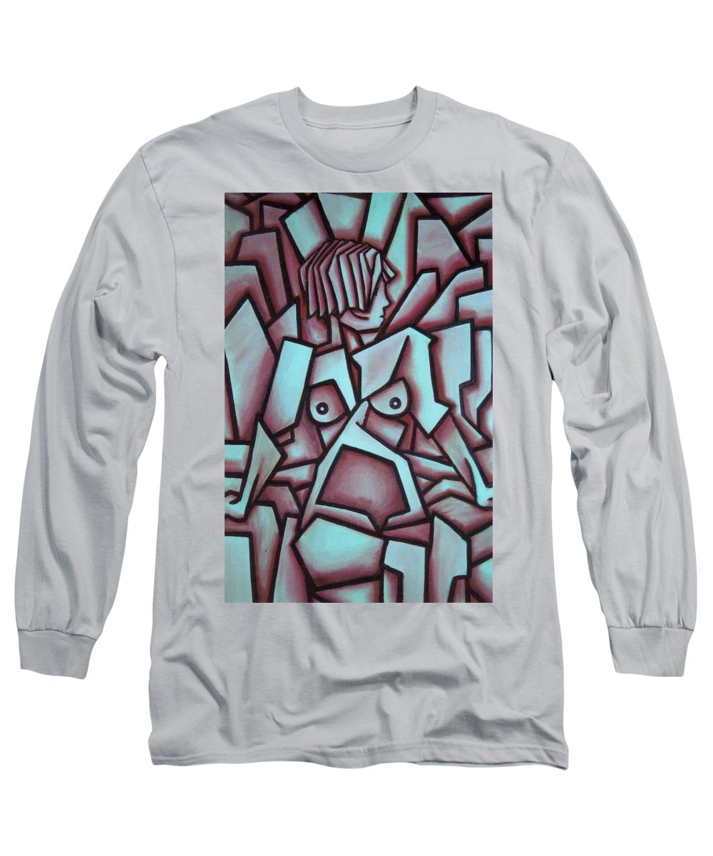 Abstact Long Sleeve T-Shirt featuring the painting Abstract Girl by Thomas Valentine
