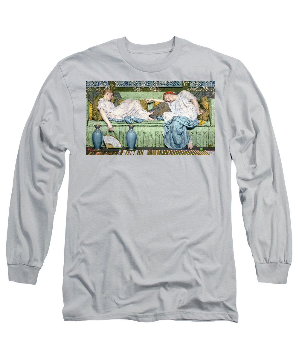 Sleep Long Sleeve T-Shirt featuring the painting Apples by Albert Joseph Moore