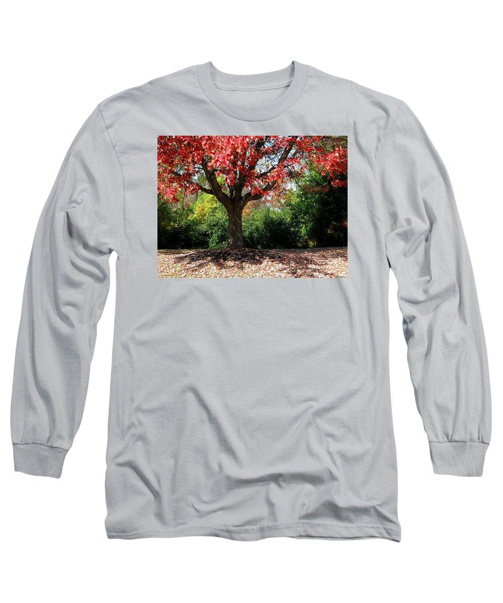 Autumn Long Sleeve T-Shirt featuring the photograph Autumn Ablaze by Ann Horn