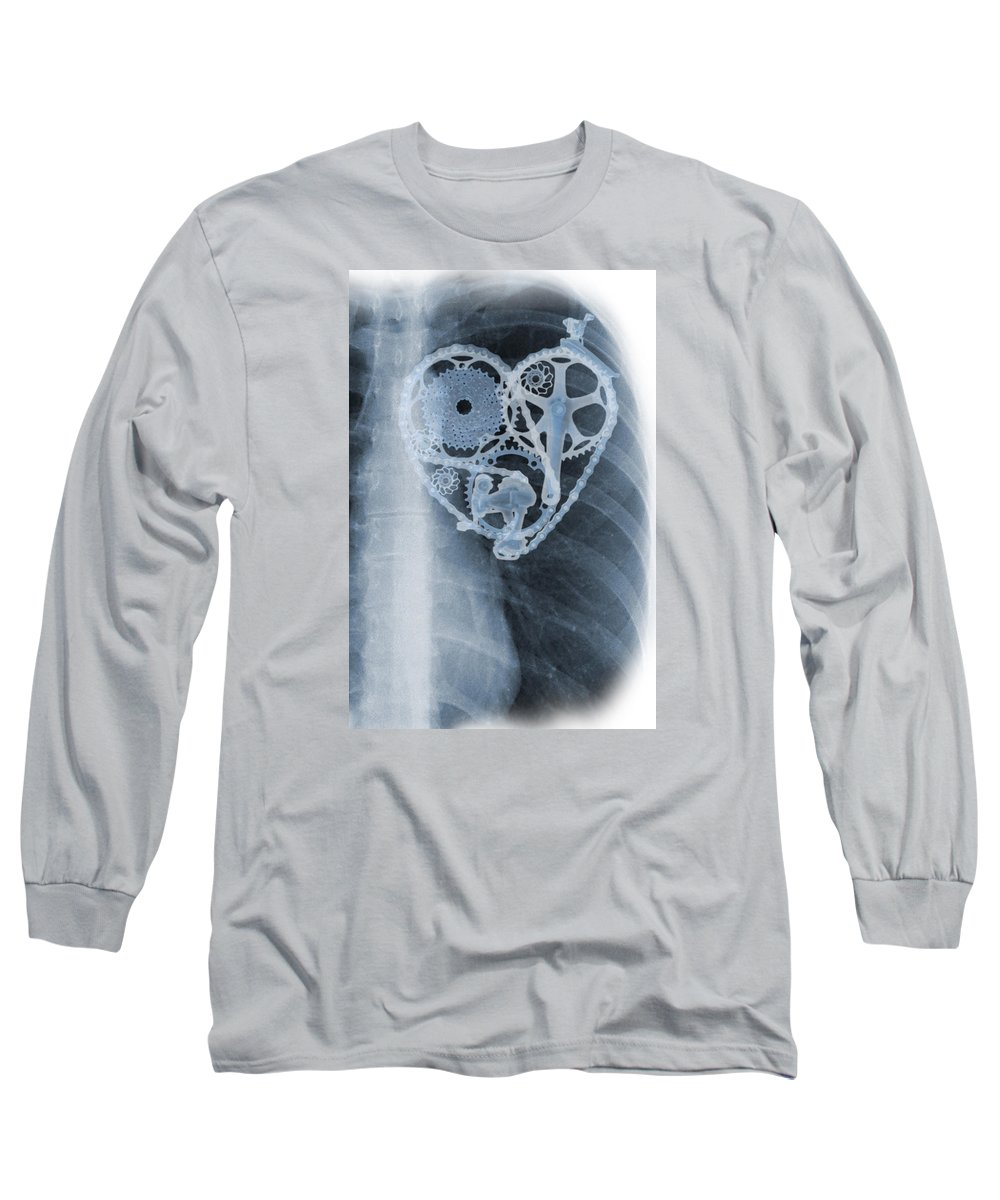 Biker Long Sleeve T-Shirt featuring the painting bike lover X-ray by Sassan Filsoof