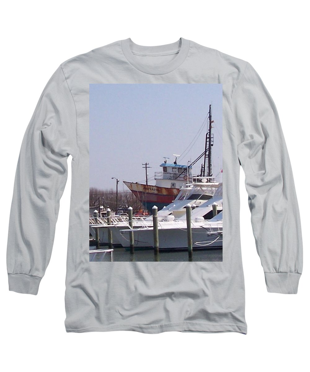 Boat Long Sleeve T-Shirt featuring the photograph Boats Docked by Pharris Art