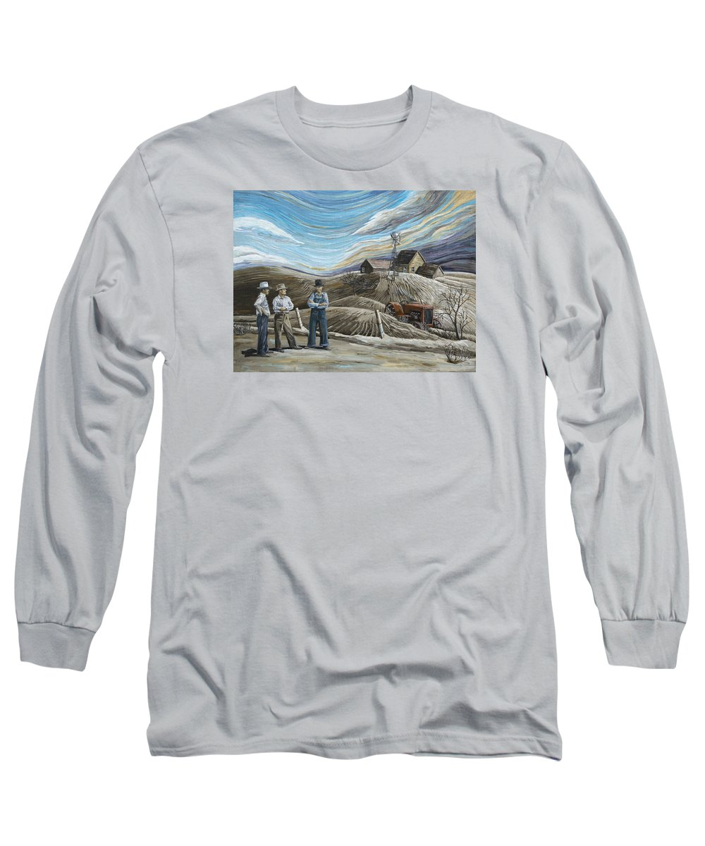 Dust Bowl Long Sleeve T-Shirt featuring the painting Boys My Money's All Gone by Paula McHugh