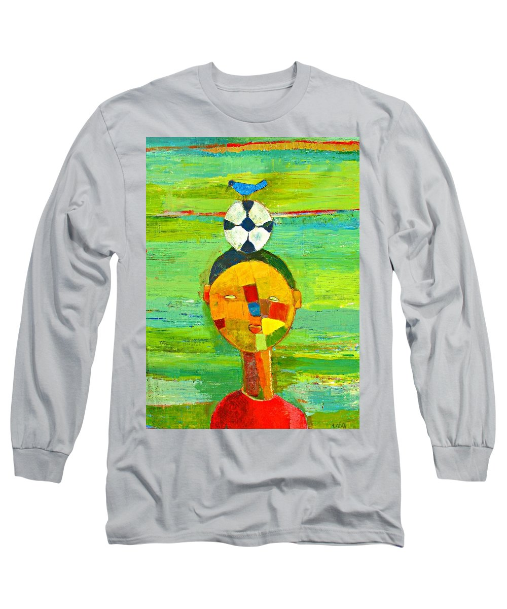 Childhood Long Sleeve T-Shirt featuring the painting Childhood Memories by Habib Ayat