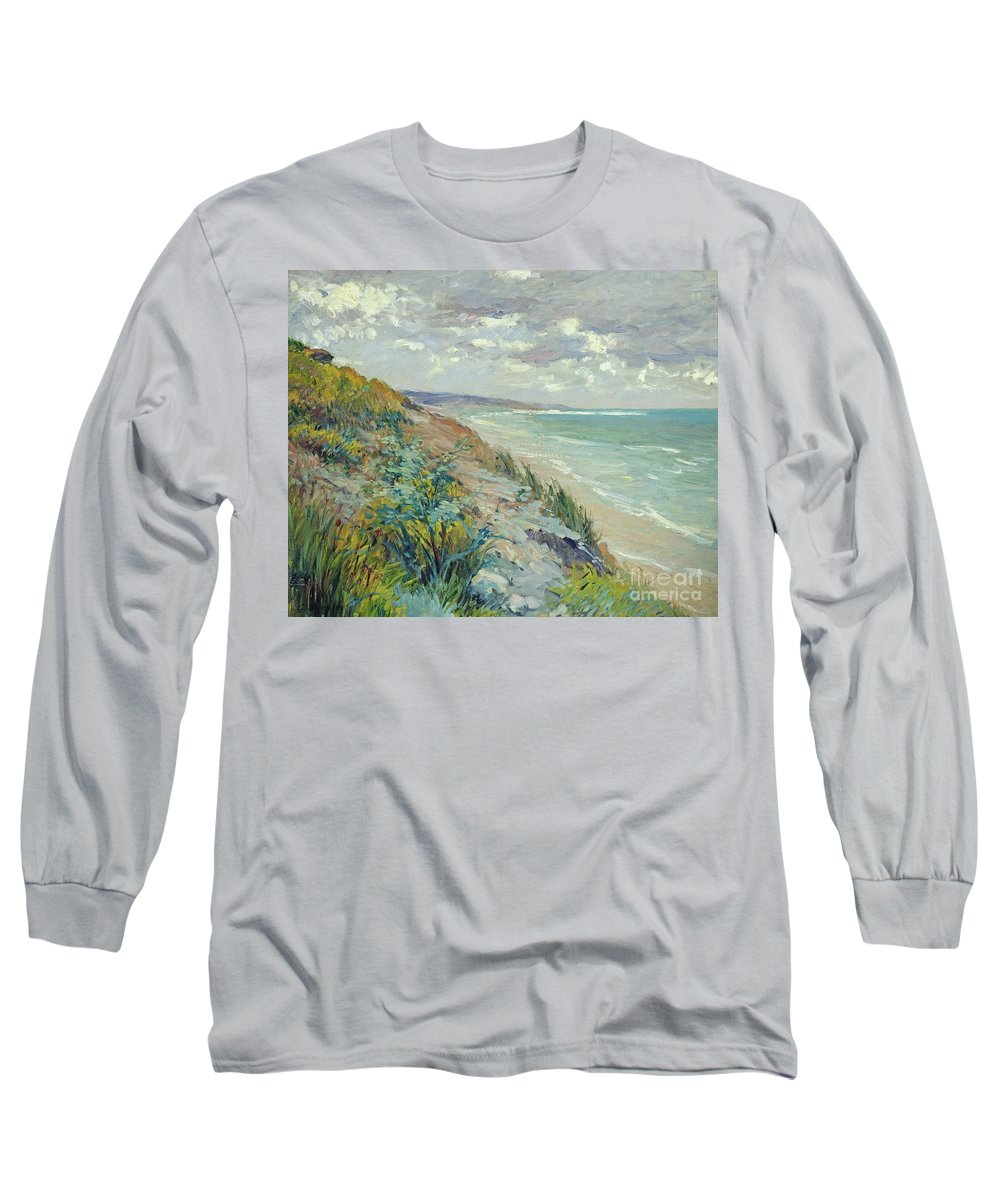 Beach Long Sleeve T-Shirt featuring the painting Cliffs By The Sea At Trouville by Gustave Caillebotte