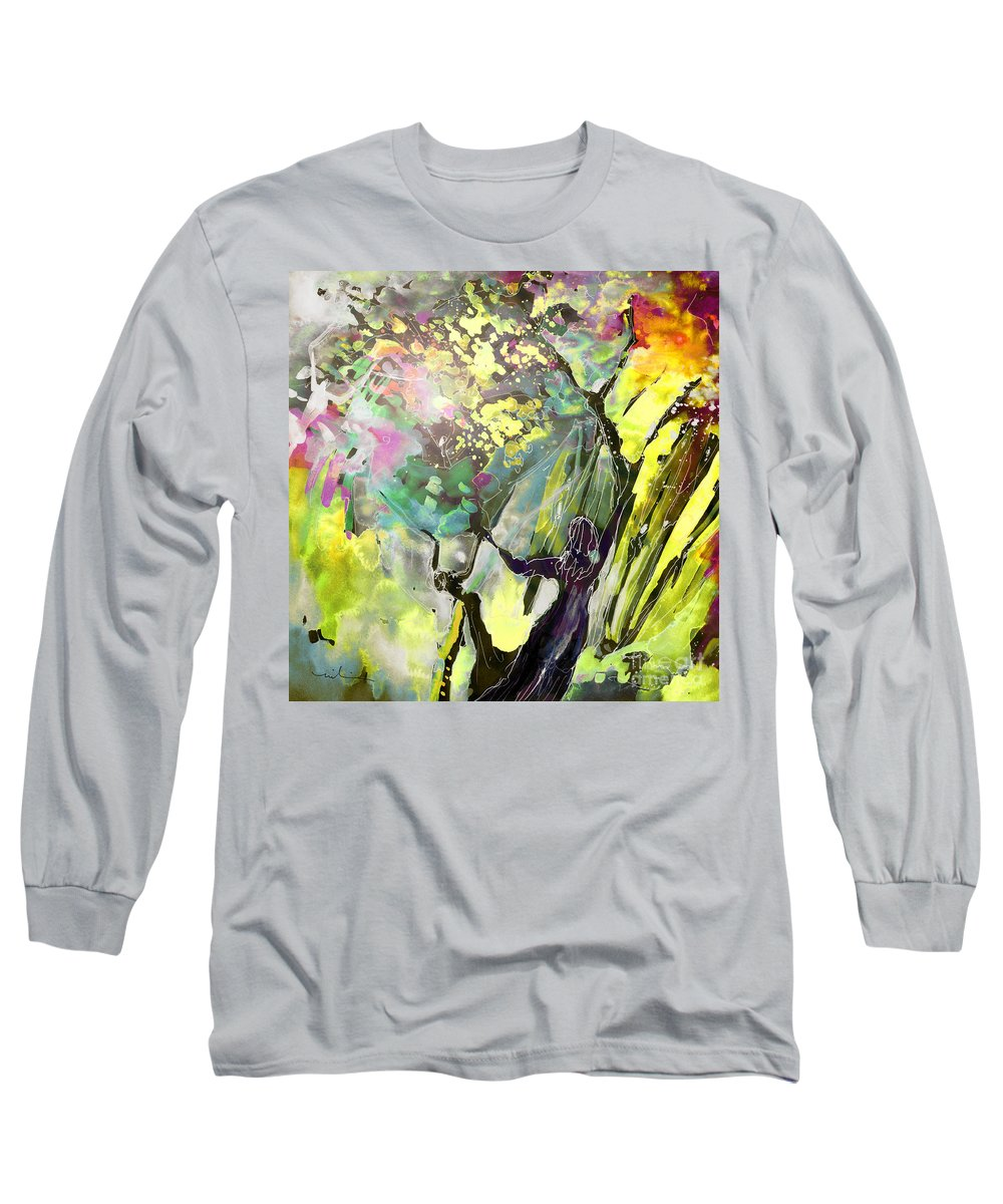 Fantasy Long Sleeve T-Shirt featuring the painting Grace Under Pressure by Miki De Goodaboom