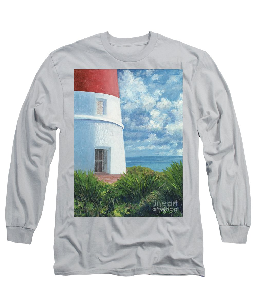 Seascape Long Sleeve T-Shirt featuring the painting Gun Cay Lighthouse by Danielle Perry