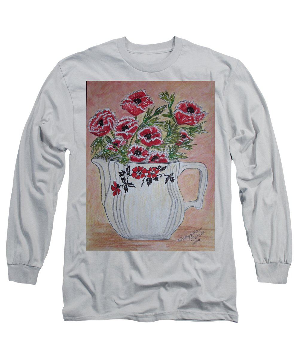 Hall China Long Sleeve T-Shirt featuring the painting Hall China Red Poppy And Poppies by Kathy Marrs Chandler