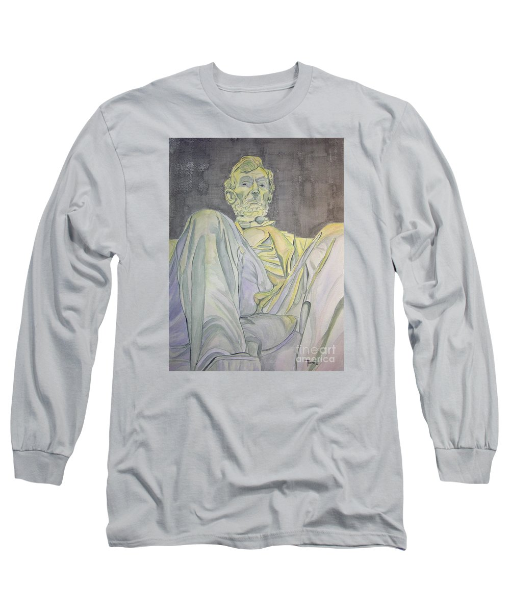 Presidents Long Sleeve T-Shirt featuring the painting Lincoln by Regan J Smith
