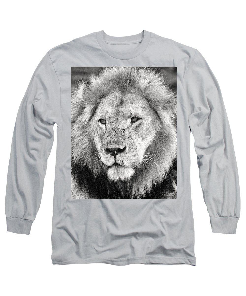 3scape Long Sleeve T-Shirt featuring the photograph Lion King by Adam Romanowicz