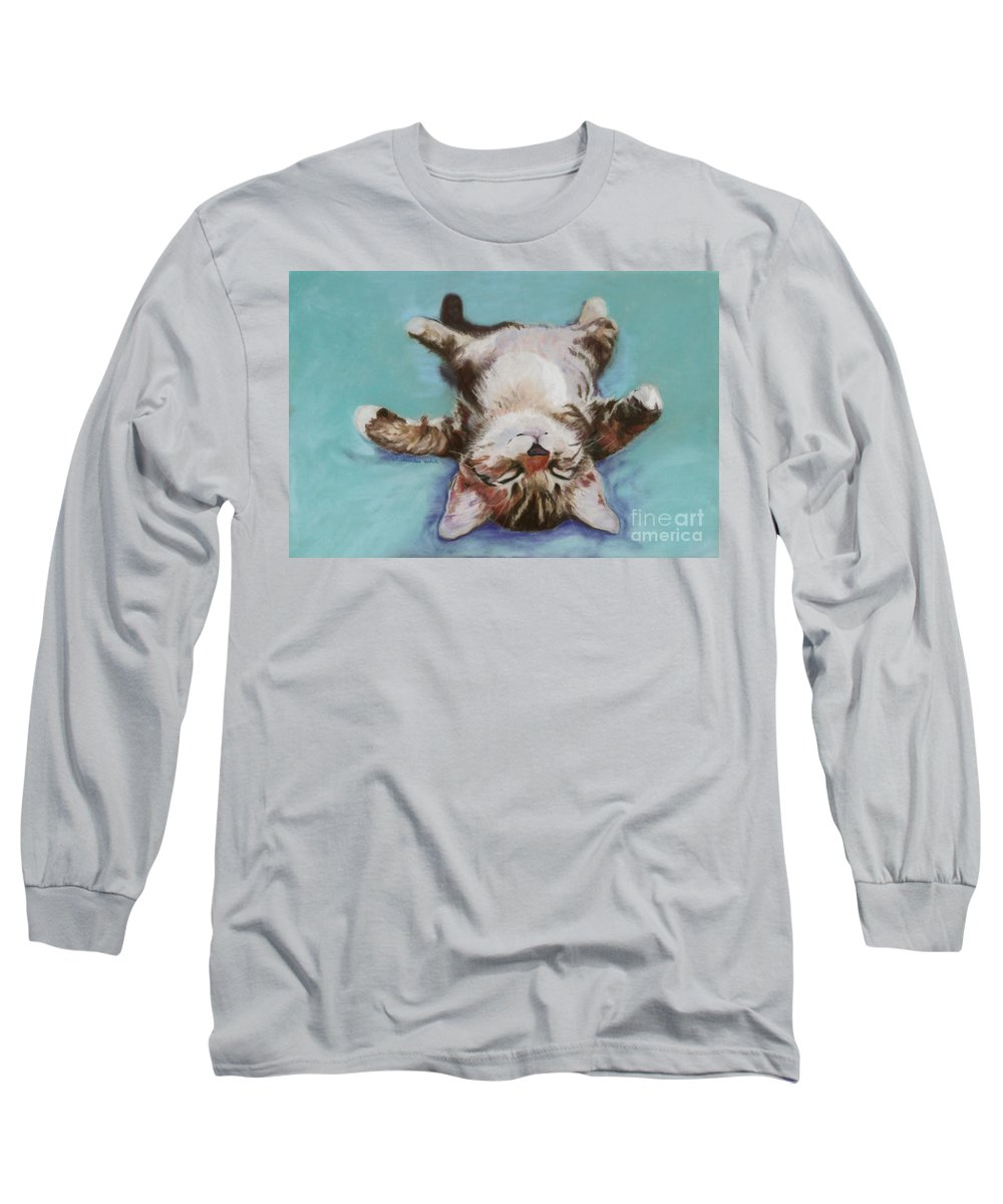 Cat Painting Long Sleeve T-Shirt featuring the pastel Little Napper by Pat Saunders-White