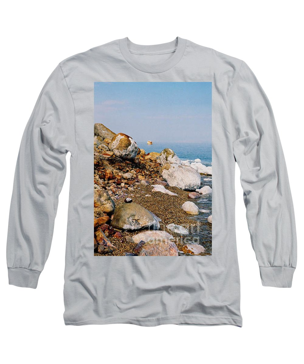 Dead Sea Long Sleeve T-Shirt featuring the photograph Lot's Wife by Kathy McClure