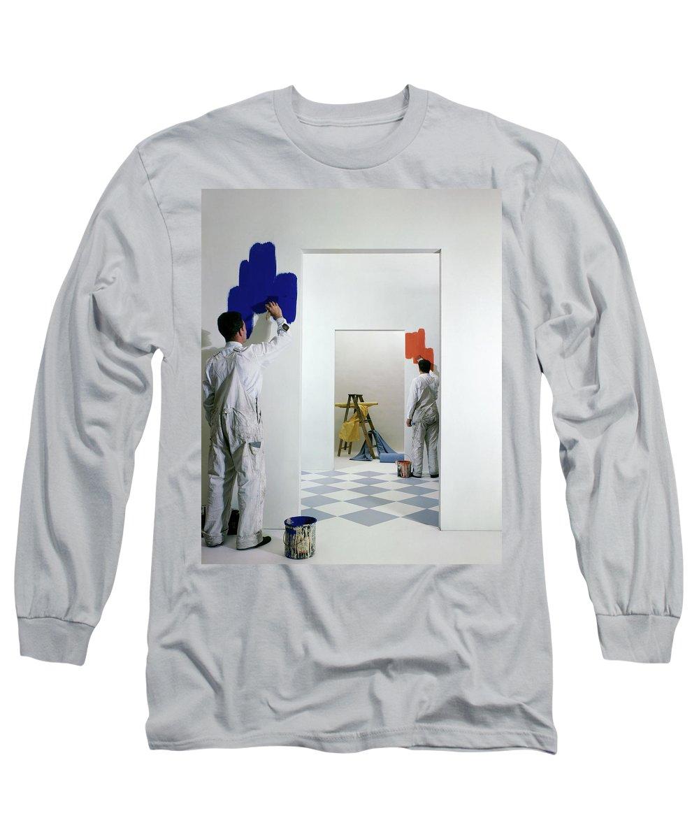 Interior Long Sleeve T-Shirt featuring the photograph Men Painting Walls by Herbert Matter