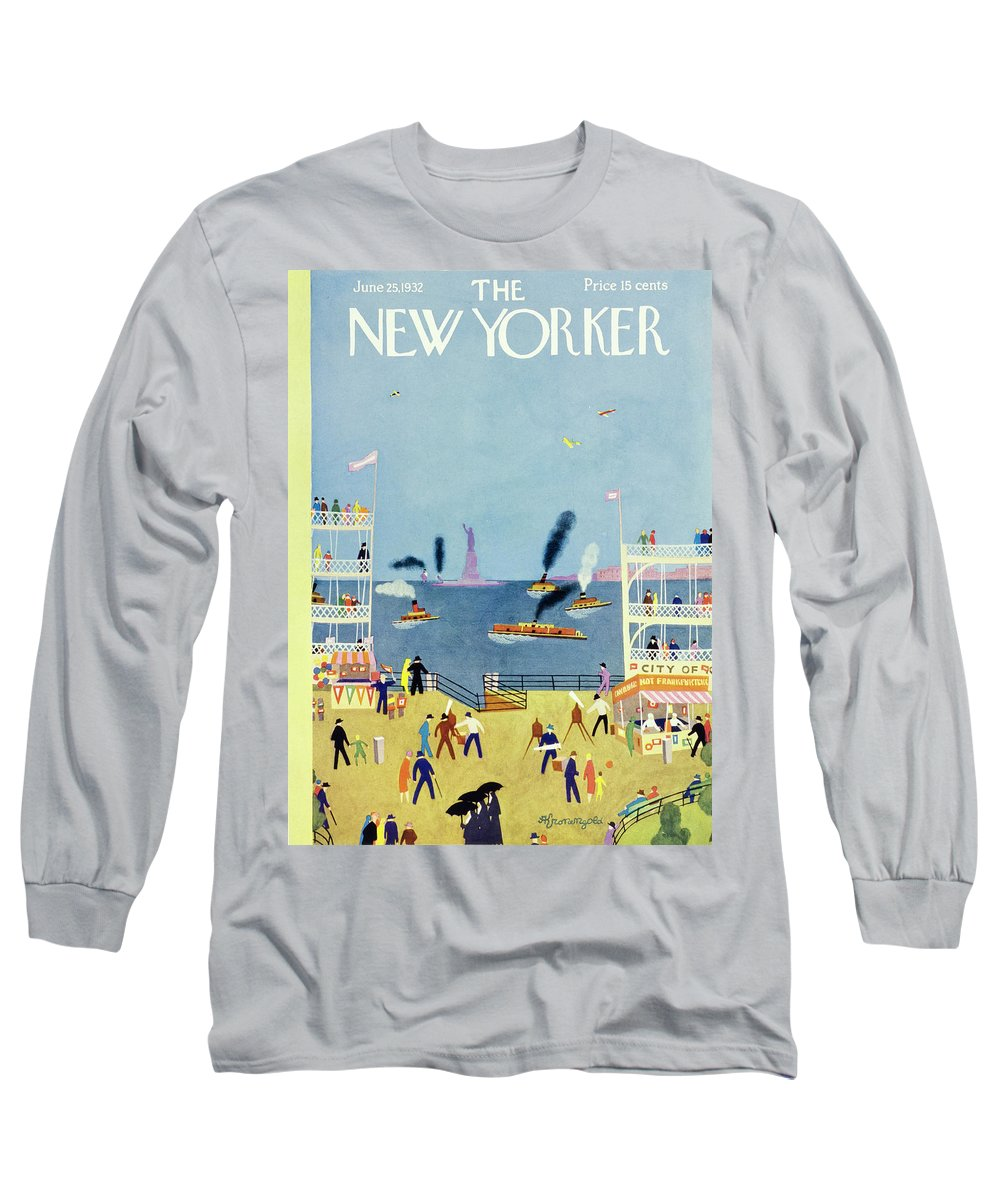 Illustration Long Sleeve T-Shirt featuring the painting New Yorker June 25 1932 by Arthur K Kronengold
