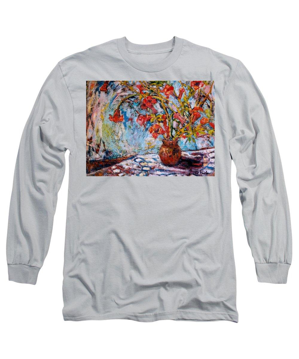 Trumpet Flowers Long Sleeve T-Shirt featuring the painting Orange Trumpet Flowers by Kendall Kessler