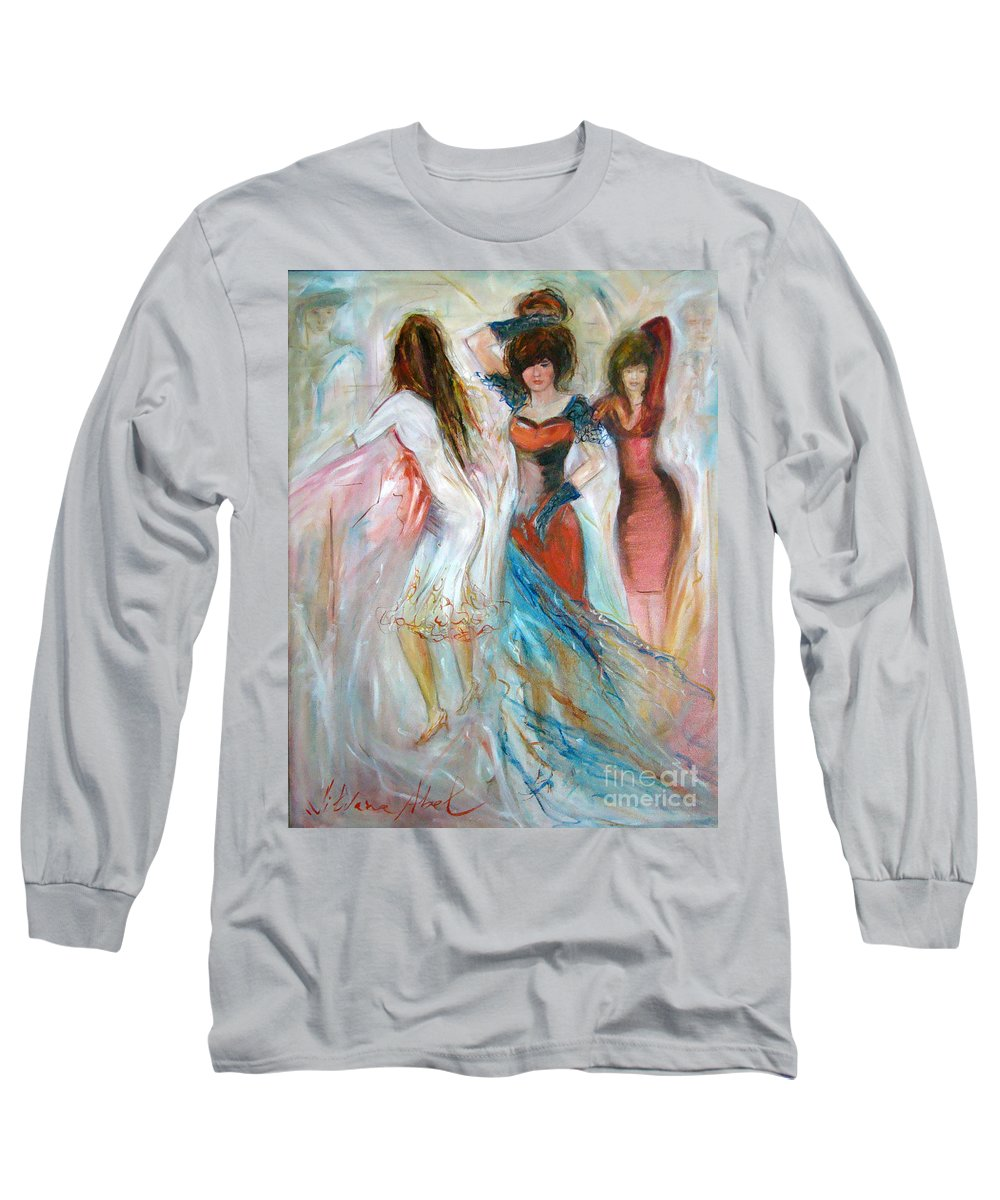 Contemporary Art Long Sleeve T-Shirt featuring the painting Party Time by Silvana Abel