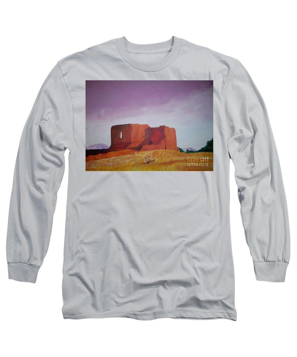 Western Long Sleeve T-Shirt featuring the painting Pecos Mission Landscape by Eric Schiabor