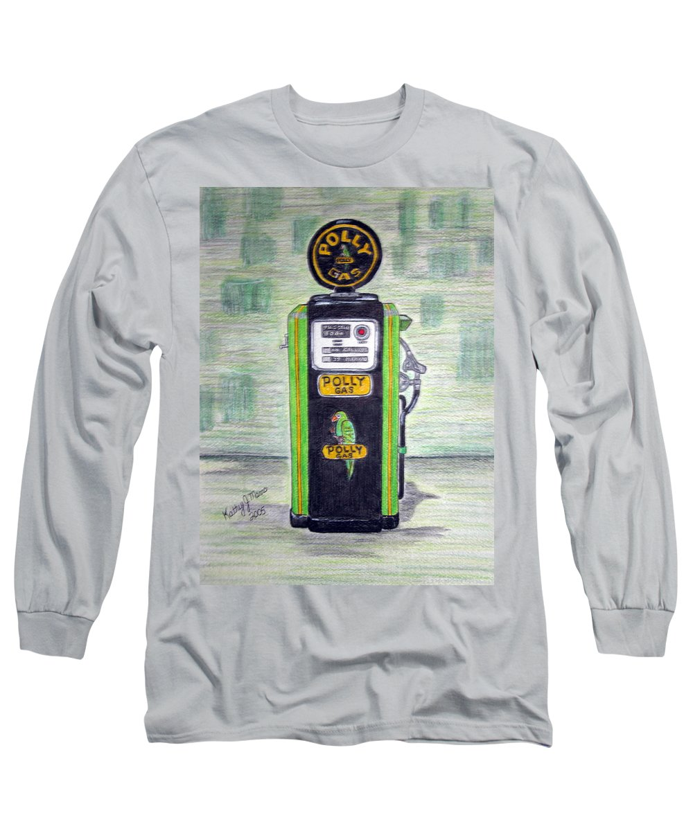 Parrot Long Sleeve T-Shirt featuring the painting Polly Gas Pump by Kathy Marrs Chandler