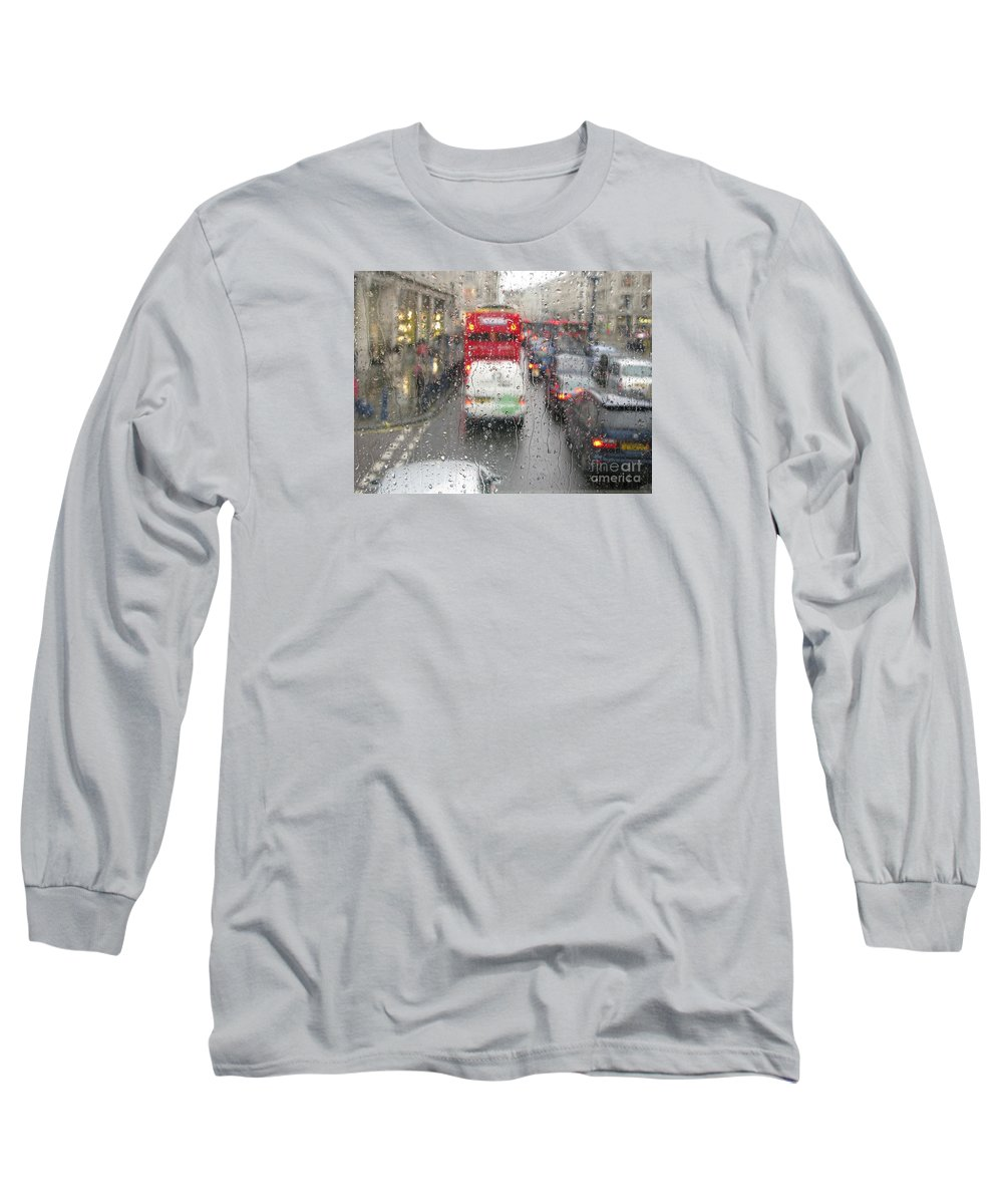 Rainy Day London Traffic By Ann Horn Long Sleeve T-Shirt featuring the photograph Rainy Day London Traffic by Ann Horn