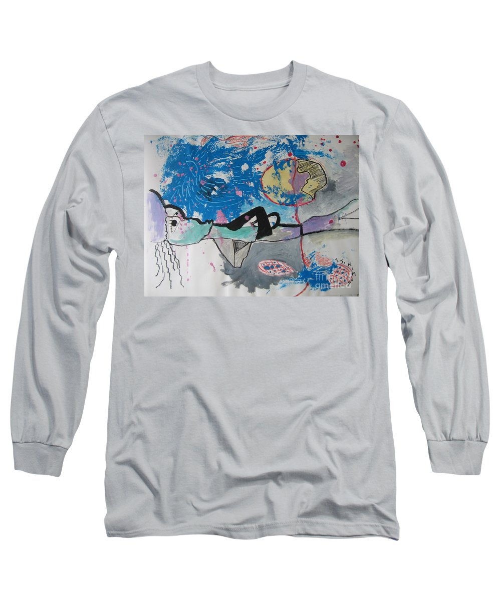 Abstract Paintings Long Sleeve T-Shirt featuring the painting Read My Mind2 by Seon-Jeong Kim