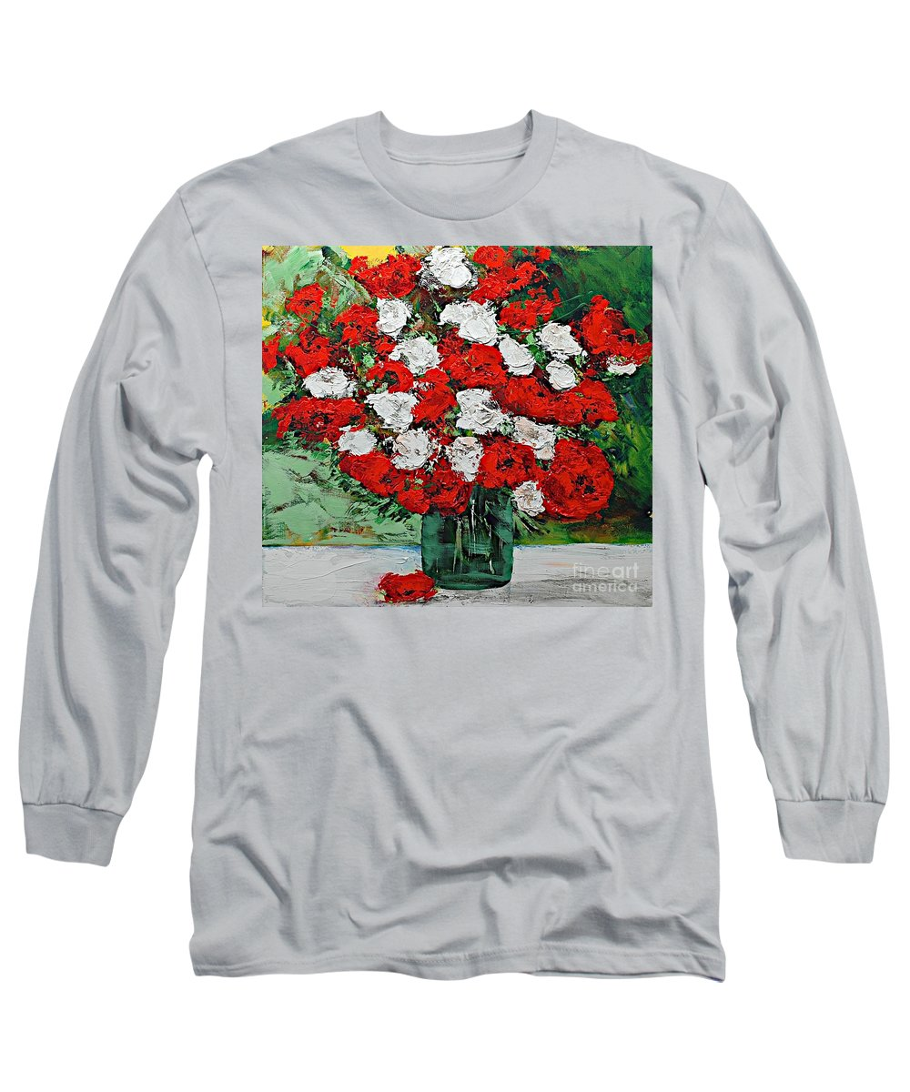 Landscape Long Sleeve T-Shirt featuring the painting Red Explosion by Allan P Friedlander