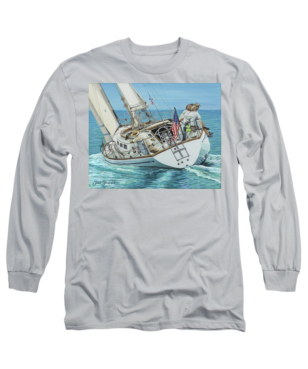 Ocean Long Sleeve T-Shirt featuring the painting Sailing Away by Jane Girardot