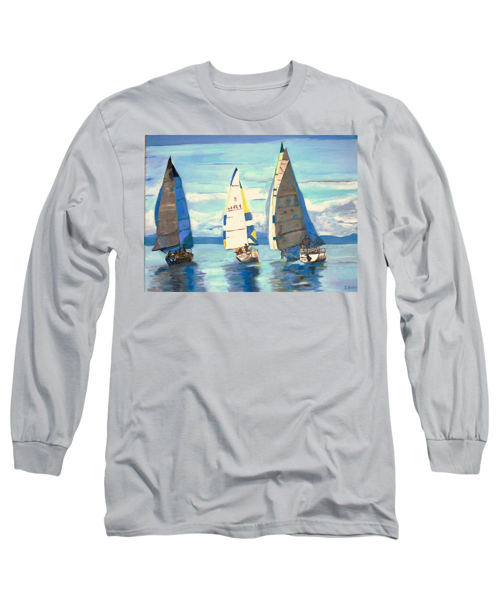 Seascape Long Sleeve T-Shirt featuring the painting Sailing Regatta At Port Hardy by Teresa Dominici