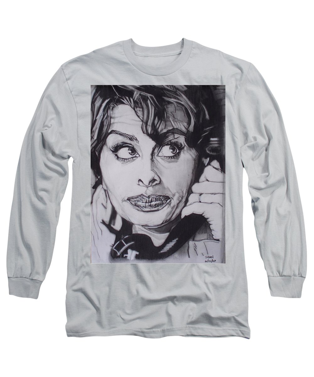 Charcoal;icon;actress;diva;italian;cat Eyes;beautiful;cute;adorable Long Sleeve T-Shirt featuring the drawing Sophia Loren Telephones by Sean Connolly