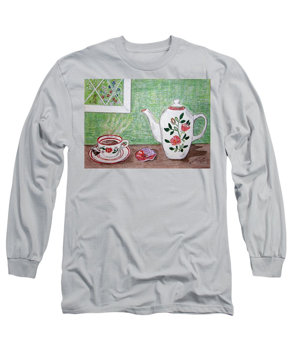 Stangl Pottery Long Sleeve T-Shirt featuring the painting Stangl Pottery Rose Pattern by Kathy Marrs Chandler